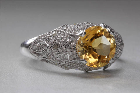 ANTIQUE 14k WHITE GOLD LADIES CITRINE & DIAMOND FILIGREE ART DECO RING 1.73CT