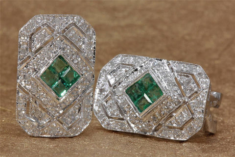 ANTIQUE14K WHITE GOLD LADIES EARRING EMERALD PRINCESS CUT & DIAMOND 2.28CT