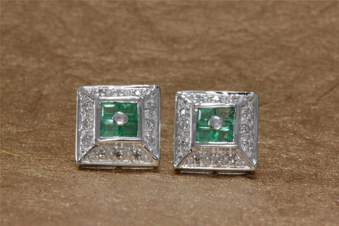 ANTIQUE 14K WHITE GOLD LADIES EARRING EMERALD PRINCESS CUT & DIAMOND 1.04CT