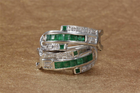 MODERN 14K WHITE GOLD LADIES EARRING EMERALD PRINCESS CUT & DIAMOND .92CT