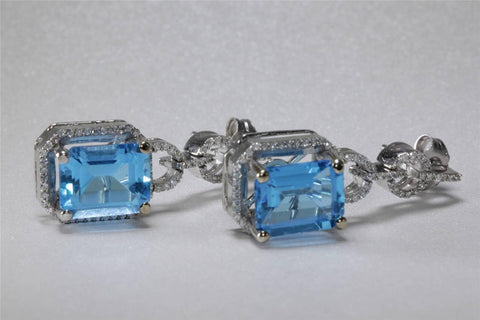 ANTIQUE 14K WHITE GOLD LADIES BLUE TOPAZ DANGLE EARRING & DIAMOND 7.38CT