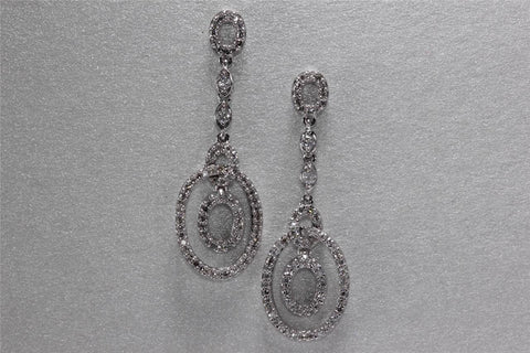 MODERN 14K WHITE GOLD LADYS DANGLE CIRCLE OF LIFE EARRING DIAMOND 1.48CT