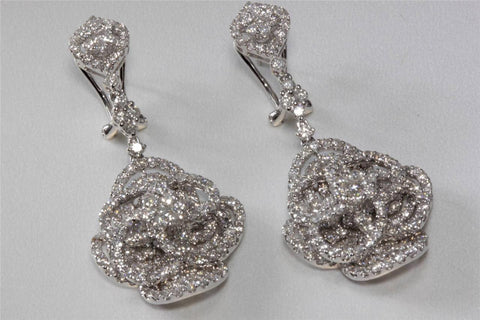 18K WHITE GOLD CHANDELIER EARRINGS DANGLING DIAMONDS MOVEABLE 5.60 CT