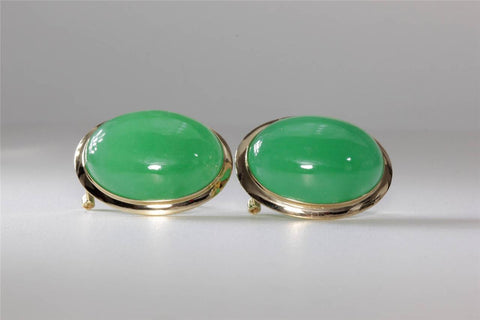 14K YELLOW GOLD EARRING BUTTONS GREEN JADE 15 X 20 14CT 14 KARAT OMEGA BACK