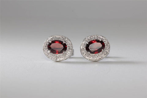 MODERN 14K WHITE GOLD LADYS EARRINGS OVAL GARNET & DIAMONDS STUDS 14CT
