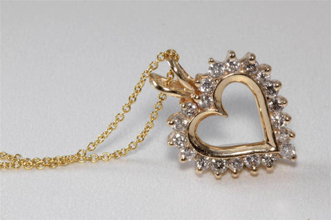 ESTATE 14K Y GOLD DIAMOND FANCY OPEN HEART PENDANT .75 CT & 14K GOLD CHAIN