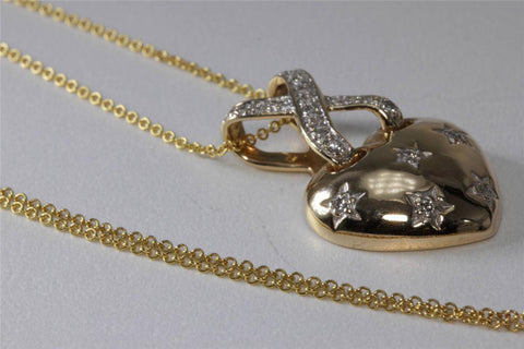 ESTATE 14K Y GOLD DIAMOND PUFF HEART STARE PENDANT .33 CT & 14K GOLD CHAIN