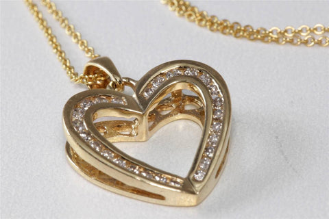 ESTATE 14K Y GOLD DIAMOND FANCY OPEN HEART PENDANT .39 CT & 14K GOLD CHAIN 14CT
