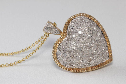 ESTATE 10K Y & W GOLD DIAMOND PAVE HEART PENDENT 1.00 CT & 14K GOLD CHAIN 10CT