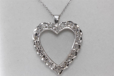 ANTIQUE 14K WHITE GOLD DIAMOND HEART PENDANT .69 CT & 14K GOLD CHAIN