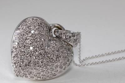 ESTATE 14K GOLD DIAMOND PUFFY HEART PENDANT 2.05 CT 14K GOLD CHAIN 14CT WHITE