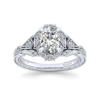 VINTAGE WHITE GOLD OVAL HALO ENGAGEMENT RING 14K