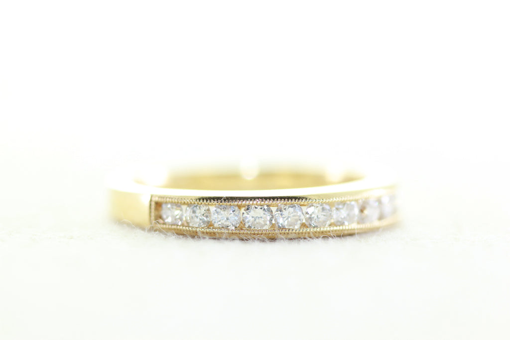 LADIES CHANNEL SET 14k YELLOW GOLD DIAMOND WEDDING BAND RING