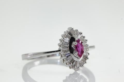 14K WHITE GOLD NATURAL RUBY MARQUISE SHAPE & DIAMOND BAGUETTES RING BALLERINA SETTING