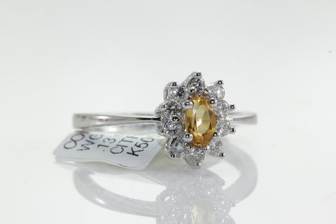 14k WHITE GOLD LADIES CITRINE & DIAMOND HALO RING