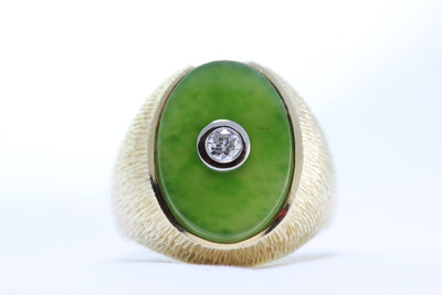 ANTIQUE MENS 14K YELLOW GOLD NATURAL GREEN  JADE RING