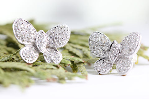 14k WHITE GOLD DIAMONDS BUTTERFLY EARRINGS