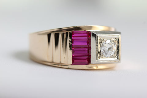 ANTIQUE DIAMOND & RUBY MENS RING SET IN 14k YELLOW GOLD