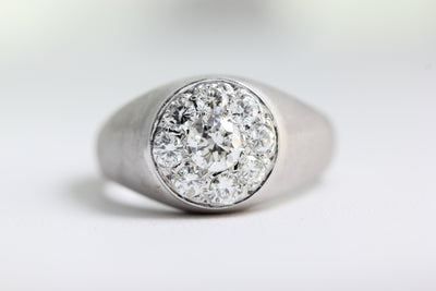 ANTIQUE DIAMOND CLUSTER MENS 14K WHITE  GOLD SOLID RING