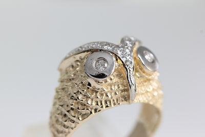 14K YELLOW WHITE GOLD DIAMOND OWLS MENS RING