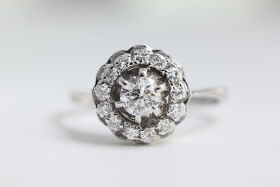 ANTIQUE DIAMOND COCKTAIL RING SET IN 14k WHITE GOLD ART DECO HALO ENGAGEMENT RING EUROPEAN CUT DIAMOND