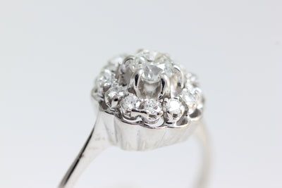ANTIQUE FANCY LADIES DIAMOND HALO COCKTAIL RING 14k WHITE GOLD