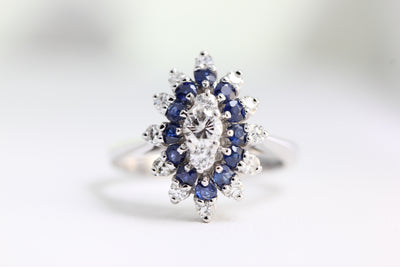 ANTIQUE SAPPHIRE COCKTAIL RING & DIAMOND SET IN 14k WHITE GOLD