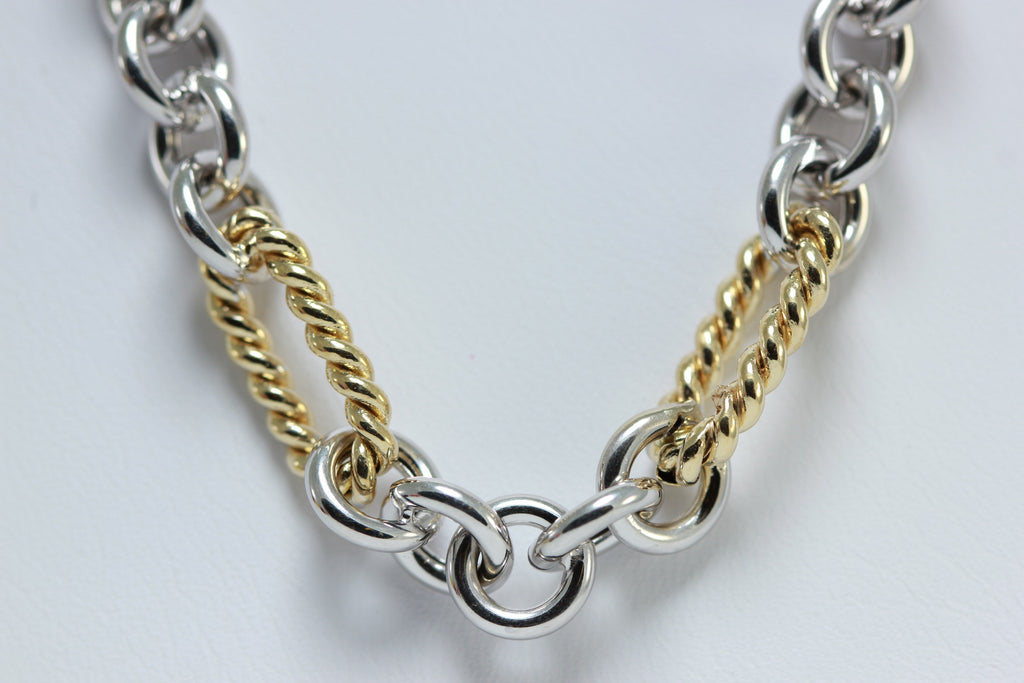 WHITE & YELLOW GOLD 14K FINE FANCY OPEN LINK NECKLACE CHAIN LADIES
