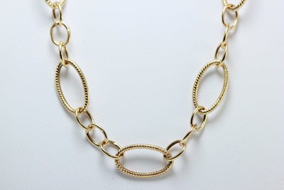 YELLOW GOLD 14K FINE FANCY OPEN LINK NECKLACE CHAIN LADIES