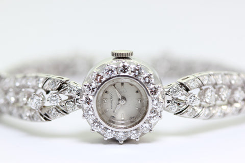 1940 ANTIQUE PLATNUM LADIES DIAMOND HAMILTON WATCH SWISS 17J 4.05 CTW