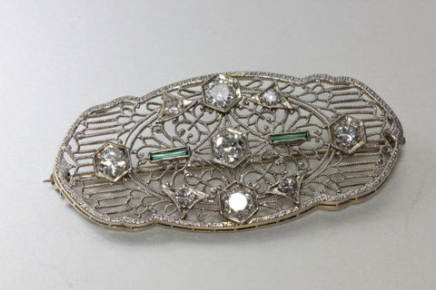 1920 ANTIQUE ART DECO 14k WHITE GOLD LADYS DIAMOND & EMERALD PIN BROOCH
