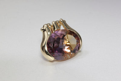 MODERN 14k YELLOW GOLD LARGE AMETRINE OVAL SHAPE PENDENT