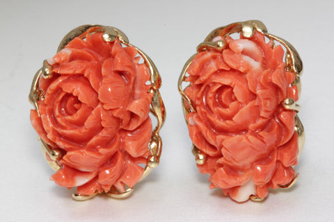 ANTIQUE 14K YELLOW GOLD CARVED PINK CORAL FLOWER LEAF CABOCHON EARRINGS