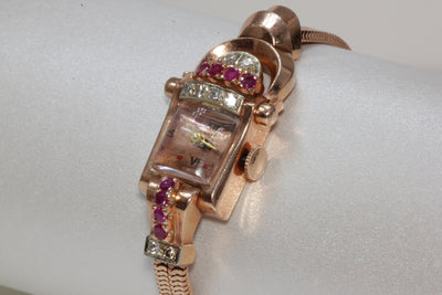 1940 ANTIQUE 14K PINK ROSE GOLD LADYS DIAMOND RUBY CHASE BUICK WATCH SWISS 17J