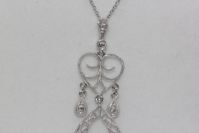 ANTIQUE 14K WHITE GOLD DIAMOND PENDANT FILIGREE CHANDLER 14K WHITE GOLD CHAIN