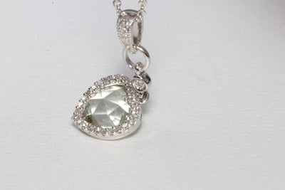 MODERN 14K WHITE GOLD LADIES PENDANT & CHAIN CHECKERBOARD GREEN AMETHYST & DIAMOND
