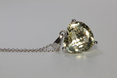 MODERN 14k WHITE GOLD LADIES PENDANT & CHAIN CHECKERBOARD LIME QUARTZ & DIAMOND