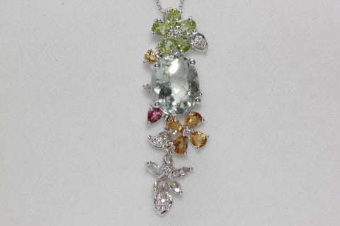 MODERN 14k W GOLD LADIES MULTI COLOR PENDANT & CHAIN & DIAMOND GREEN AMETHYST