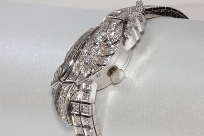 1940 ANTIQUE 14k WHITE GOLD LADIES DIAMOND HAMILTON WATCH 17J 761 SWISS 2.51 CTW