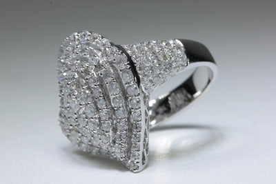 MODERN 18k WHITE GOLD DIAMOND COCKTAIL RING ROUND MICRO PAVE 3.84 CTW