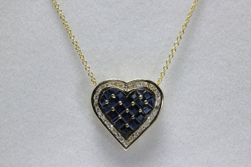 14k YELLOW GOLD LADIES LUCIEN PICCARD HEART PENDANT & CHAIN BLUE SAPPHIRE & DIAMONDS