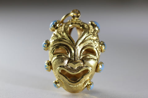ANTIQUE 18K YELLOW GOLD TURQUOISE COMEDY AND TRAGEDY PENDANT CHARM