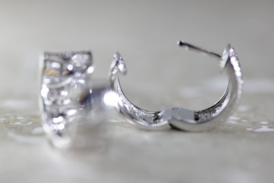 14k WHITE GOLD WIDE HUGGIE HOOPS EARRINGS DIAMONDS MICRO PAVE SETTING .65 CTW