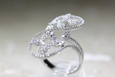 WIDE 18K WHITE GOLD DIAMOND RING ROUND CUT LACE LOOK 1.60 CTW