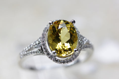 LADIES CITRINE & DIAMOND FILIGREE ART DECO RING 14K WHITE GOLD 1.73CT