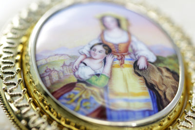 ANTIQUE PAINTED PORCELAIN 14K GOLD PIN BROOCH PICTURE FRAME 1520 CIRCA