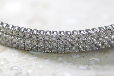 LEADIES 14K WHITE GOLD ROUND DIAMOND BANGLE 10.50 CTW BRACELET SLIP ON