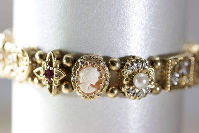 ANTIQUE VINTAGE ESTATE LADIES SLIDE BRACELET 14K YELLOW GOLD DIAMONDS FILIGREE