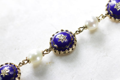ANTIQUE LADIES BRACELET CLOISONNE ENAMEL  14K GOLD & CULTURED PEARLS HAND MADE
