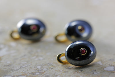 ANTIQUE TIFFANY & CO TUXEDO STUDS RUBY & HEMATITE MANS SET